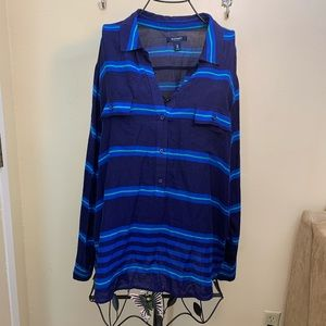 Old Navy Half Button  Down Blue Striped Top Sz 2XL